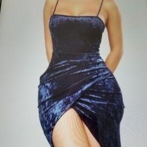 FASHION NOVA DRESS SUEDE DRAPED  NAVY BLUE  XL